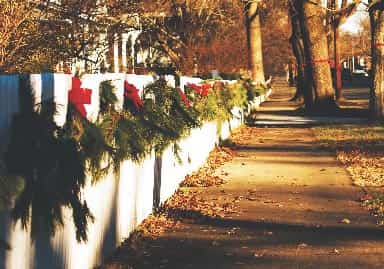 Holiday wreaths on white fence